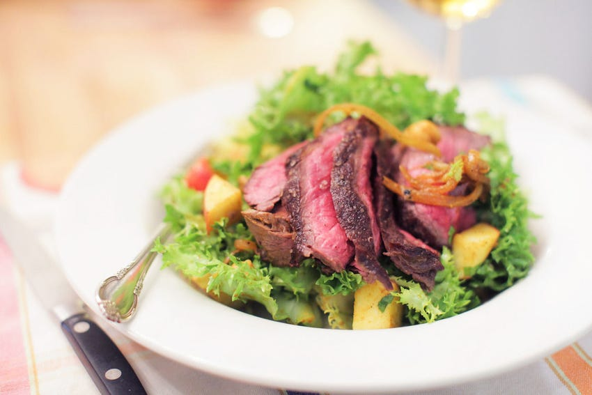 Steak Salad with Chicory, Curried Chickpeas, Walnuts & Apples