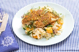 Pistachio-Crusted Catfish with Clementine Salad, Israeli Couscous & Roasted Fennel