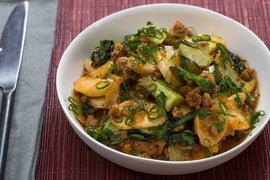 "Korean Tteok & Spicy Pork ""Ragù"" with Baby Bok Choy"