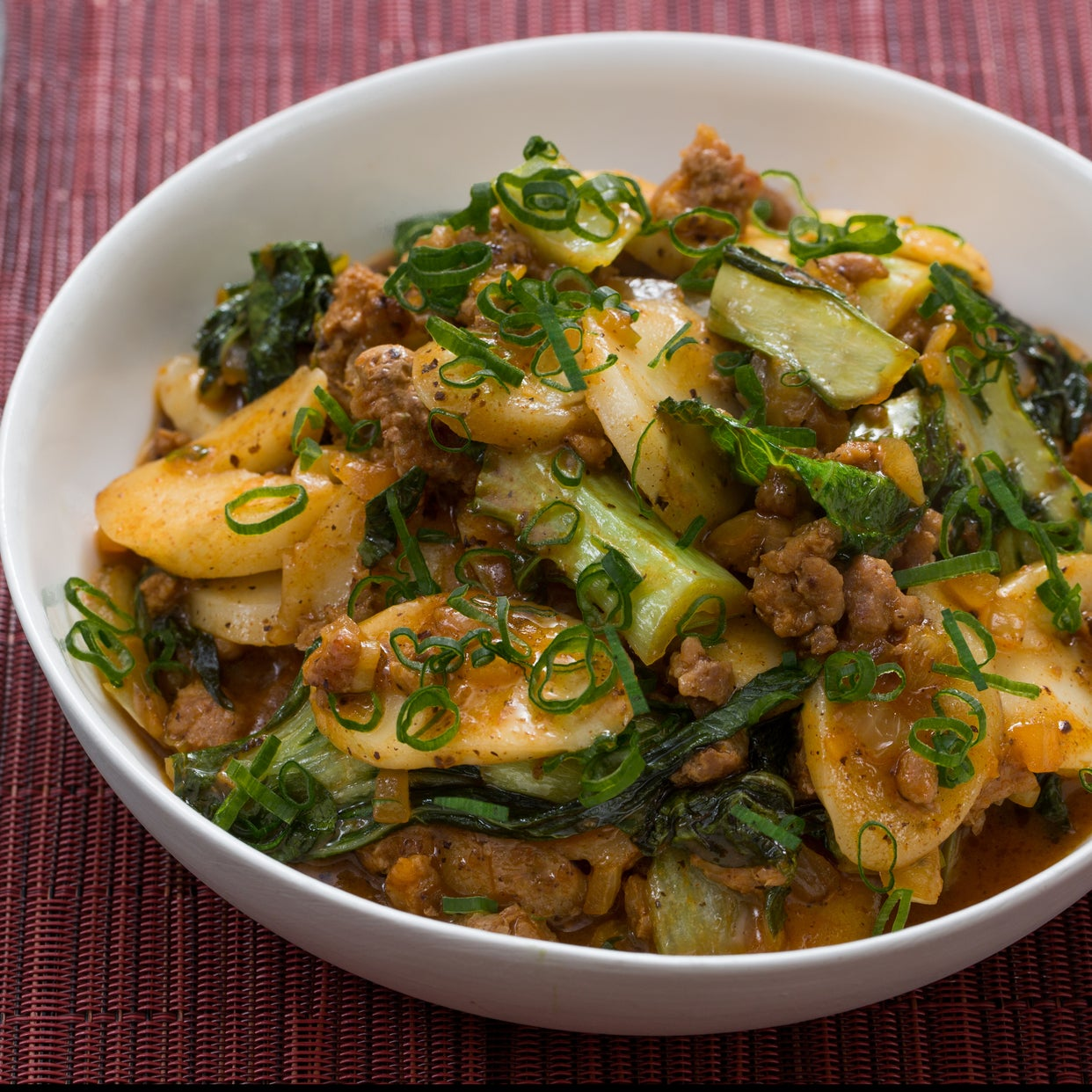 "Korean Tteok & Spicy Pork ""Ragù"" with Baby Bok Choy"