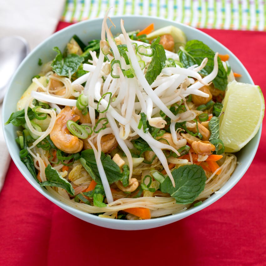 Curried Vermicelli Noodles with Bok Choy, Bean Sprouts & Candied Cashews