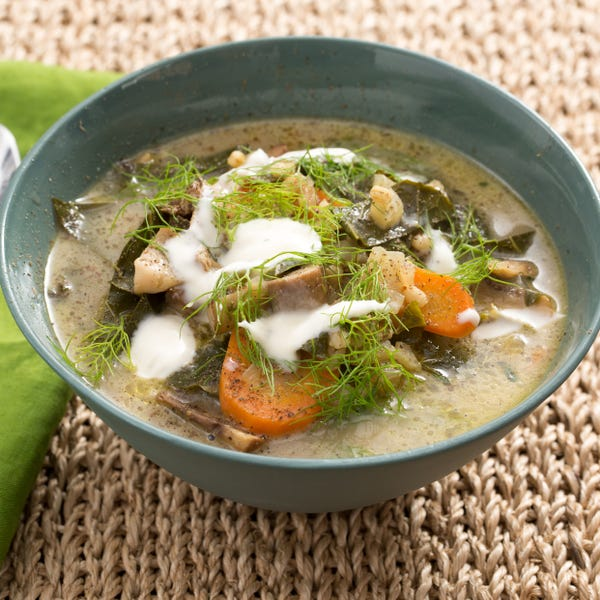 Cremini & Porcini Mushroom-Barley Soup with Collard Greens, Fennel & Crème Fraîche