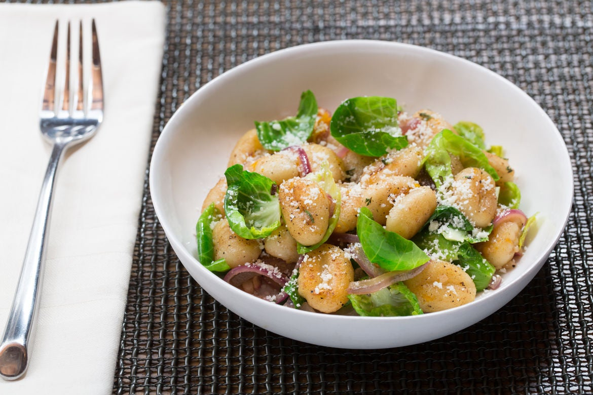 Crispy Brown Butter Gnocchi with Meyer Lemon & Brussels Sprouts