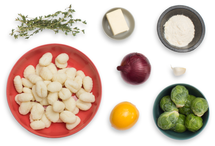 Crispy Brown Butter Gnocchi with Meyer Lemon & Brussels Sprouts ingredients