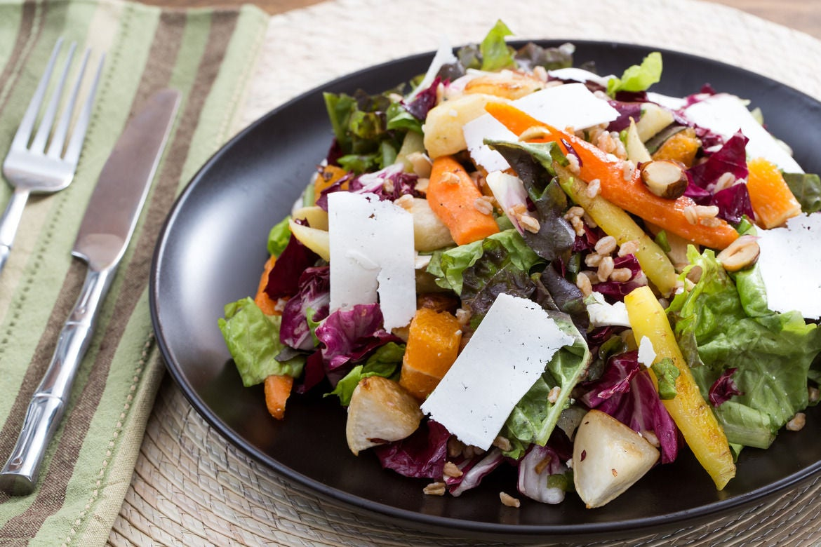 Roasted Root Vegetable Salad with Radicchio, Hazelnuts & Cara Cara Orange
