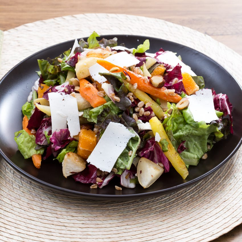 Roasted Root Vegetable Salad with Radicchio, Hazelnuts & Cara Cara Orange