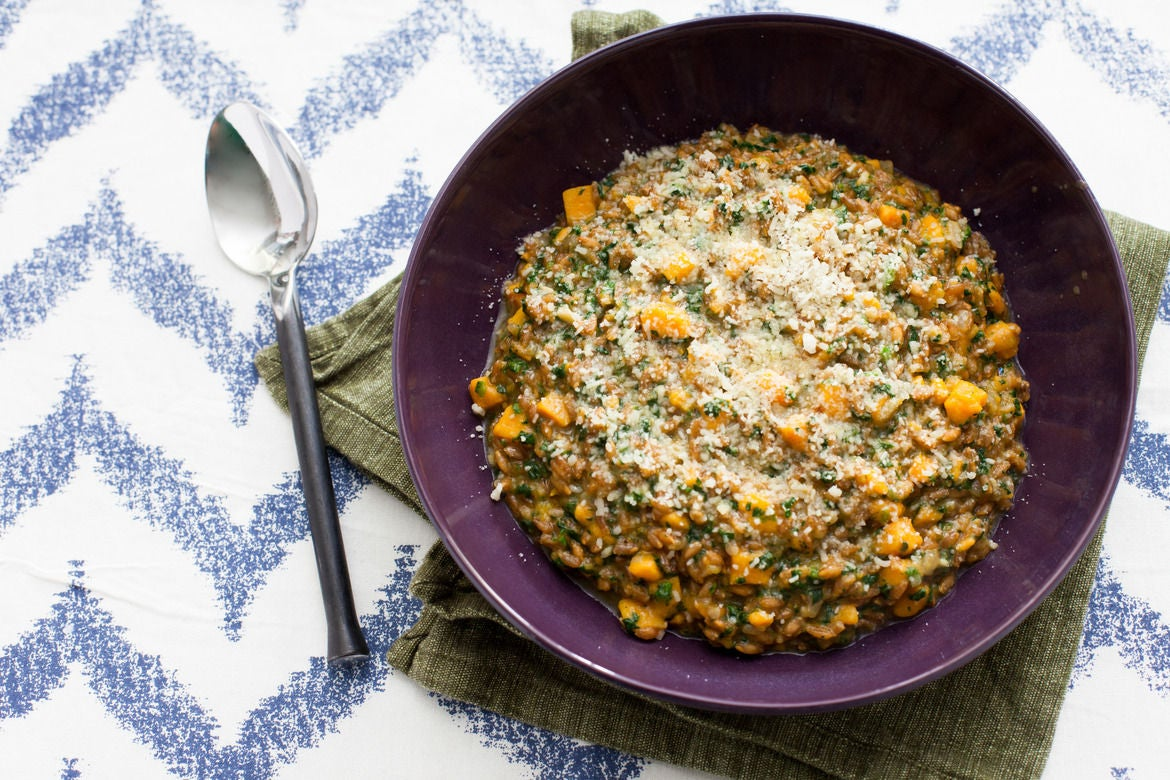 Farro Risotto with Spinach-Basil Pesto & Sweet Potato