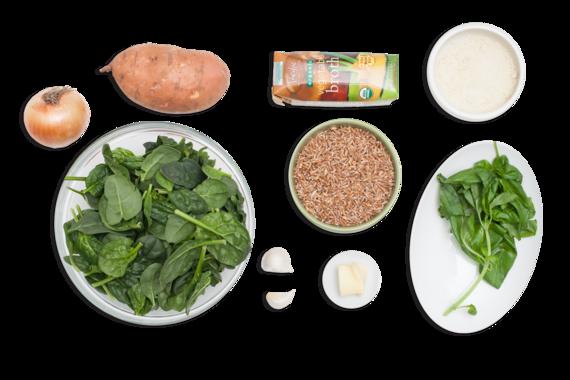 Recipe: Farro Risotto with Spinach-Basil Pesto & Sweet Potato - Blue ...