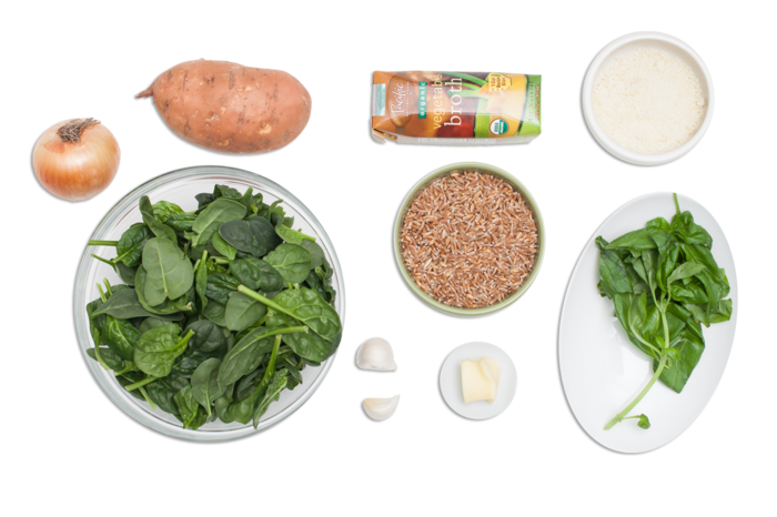 Farro Risotto with Spinach-Basil Pesto & Sweet Potato ingredients