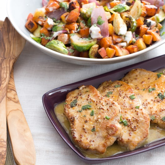Spiced Pork & Winter Hash with Brussels Sprouts, Sweet Potatoes & Apple