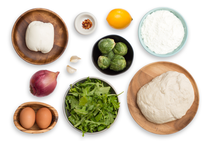 White Pizza with Baked Eggs & Arugula-Brussels Sprout Salad ingredients