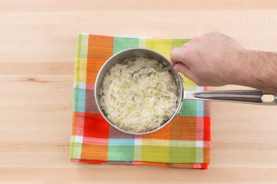 Make the garlic-lime rice: