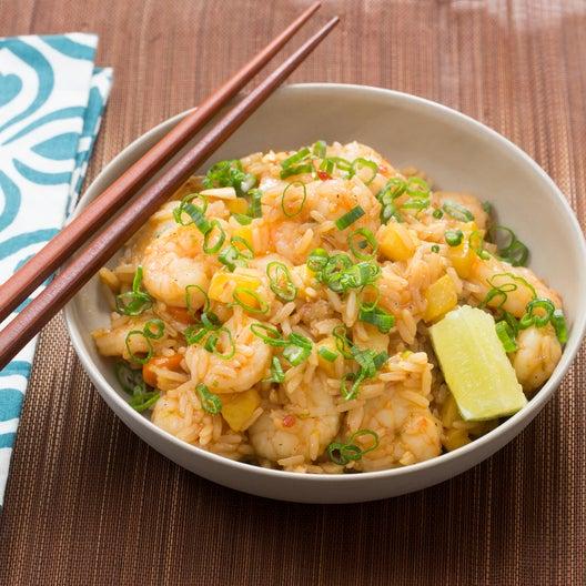 Shrimp & Pineapple Fried Rice with Toasted Cashews & Sambal Oelek