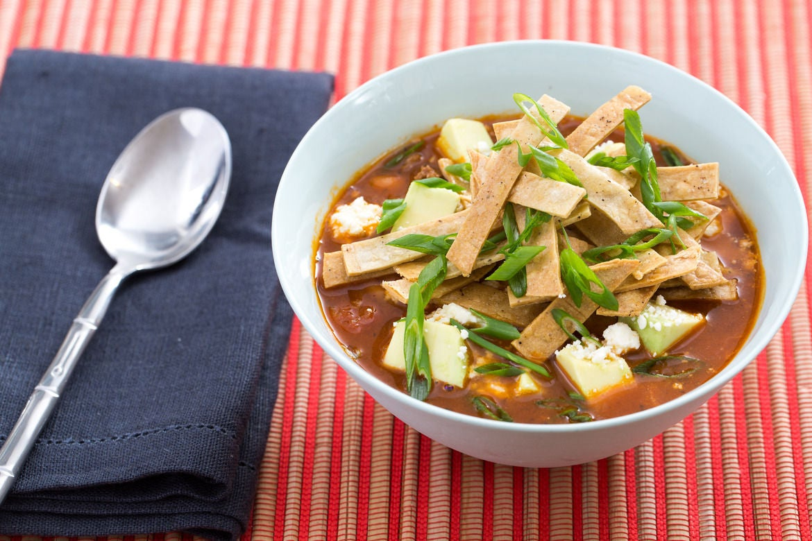 Beef & Pinto Bean Chili with Crispy Tortilla Strips, Avocado & Cotija Cheese