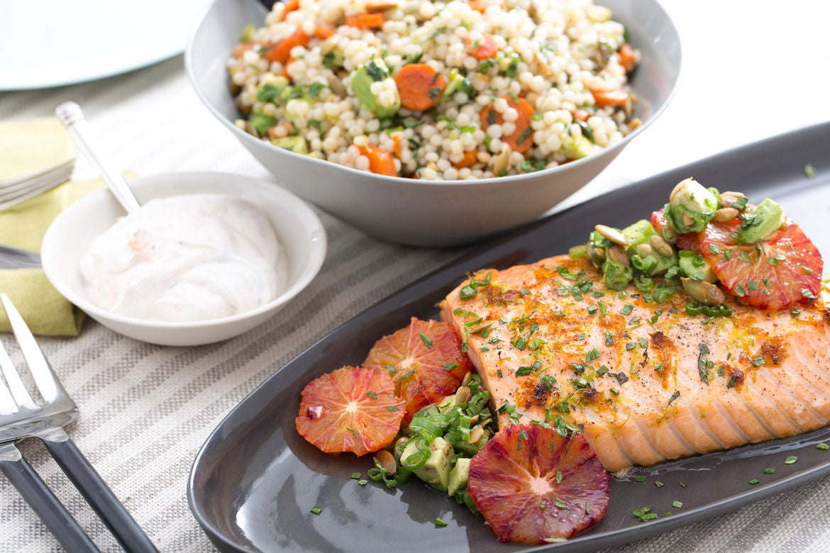 Blood Orange-Roasted Salmon  with Avocado, Pepitas & Israeli Couscous Salad