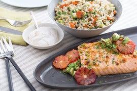 Blood Orange-Roasted Salmon with Avocado, Pepitas & Israeli Couscous ...