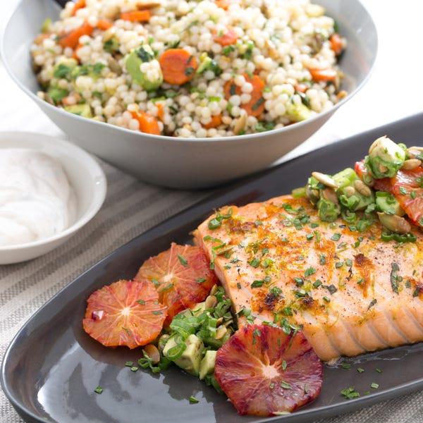 Blood Orange-Roasted Salmon with Avocado, Pepitas & Israeli Couscous Salad