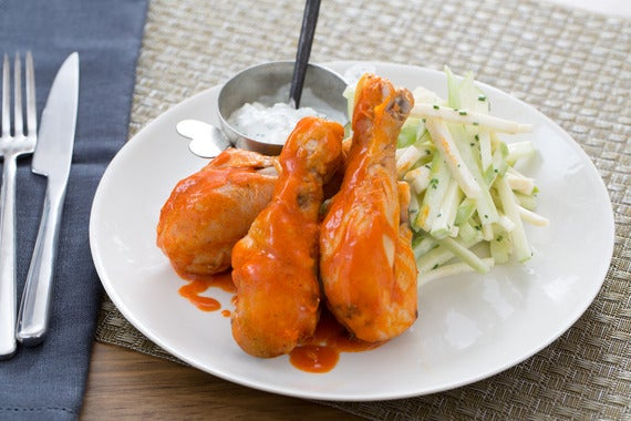 ... Chicken Drumsticks with Blue Cheese Sauce & Celery-Apple Salad - Blue