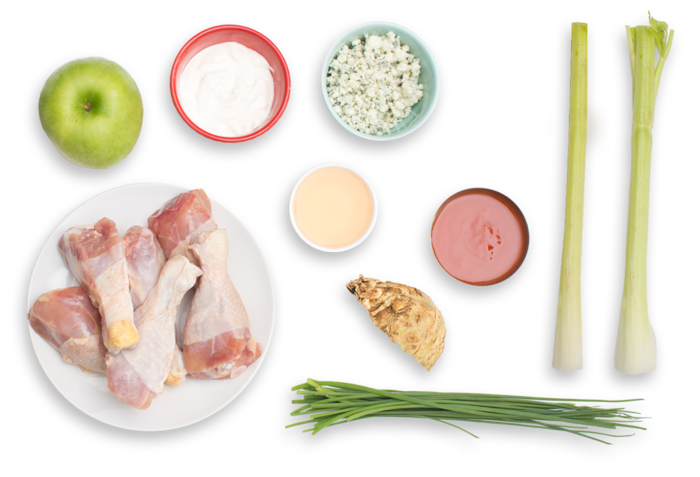 Buffalo-Style Chicken Drumsticks with Blue Cheese Sauce & Celery-Apple Salad ingredients