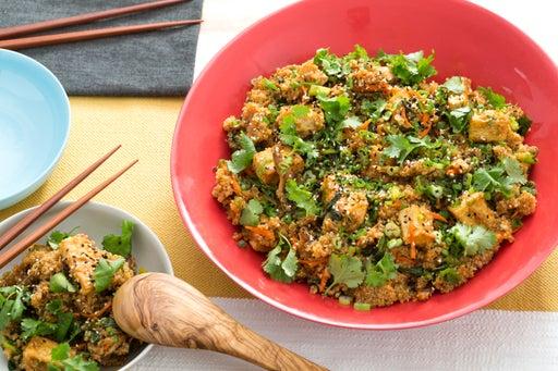 "Quinoa & Tofu ""Fried Rice"" with Chinese Broccoli & Crispy Shiitake Mushrooms"