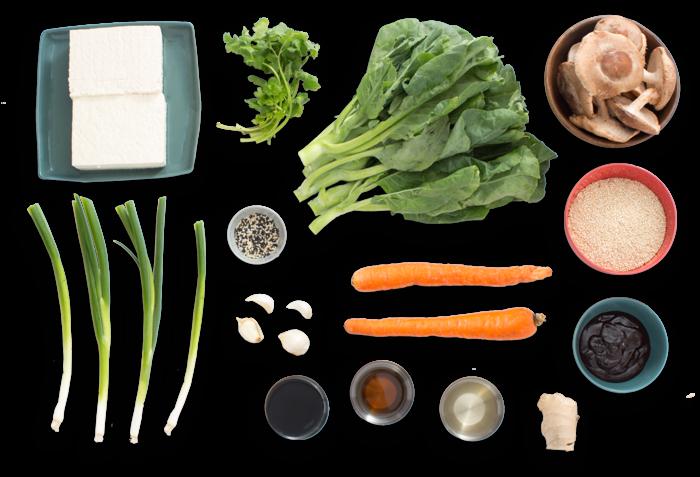 "... Fried Rice"" with Chinese Broccoli & Crispy Shiitake Mushrooms - Blue"