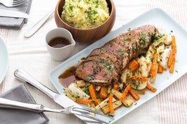 Roast Beef with Smashed Potatoes, Roasted Root Vegetables & Gravy