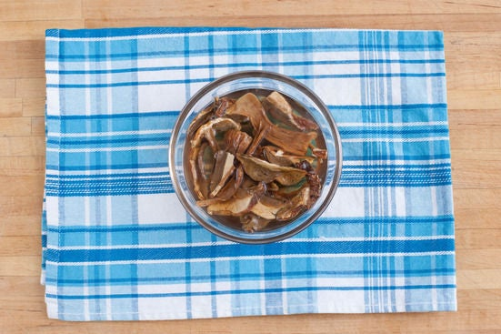 Rehydrate the porcini mushrooms: