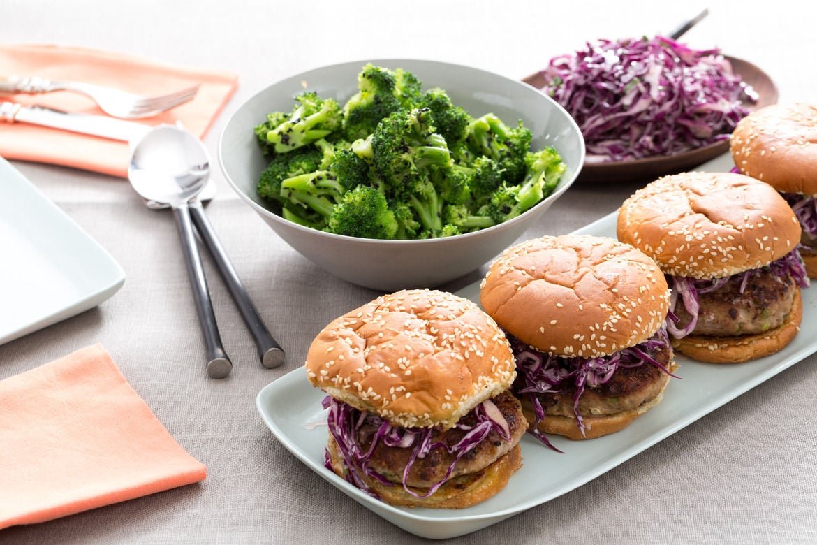 Lemongrass Turkey Burgers with Creamy Asian Slaw & Sesame-Broccoli Salad