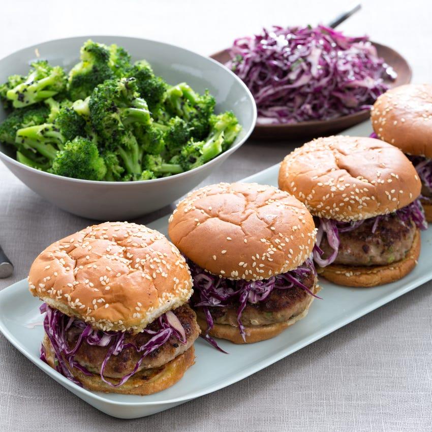 Lemongrass Turkey Burgers with Creamy Asian Slaw & Sesame-Broccoli Salad