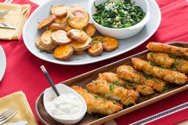 Fish & Sweet Potato Chips with Sautéed Spinach & Apple
