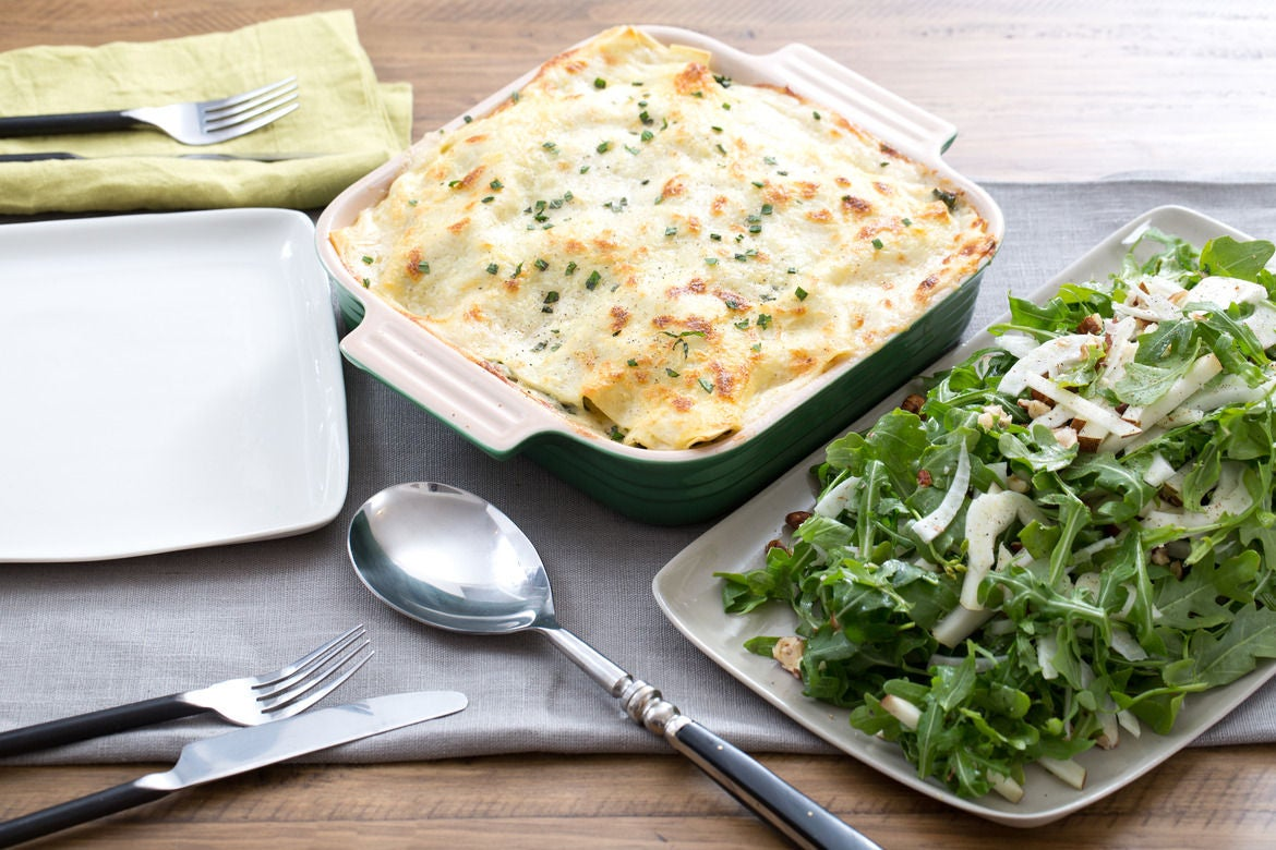 Kale & Butternut Squash Lasagna with Arugula, Pear & Hazelnut Salad