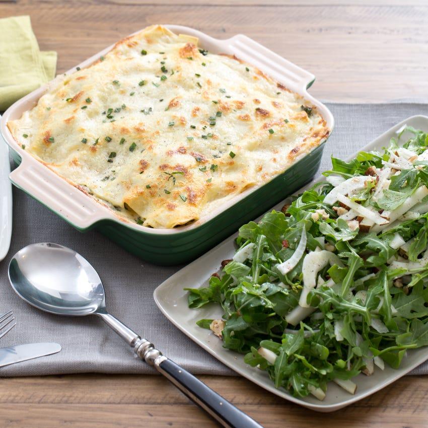 Kale & Butternut Squash Lasagna with Arugula, Pear & Hazelnut Salad