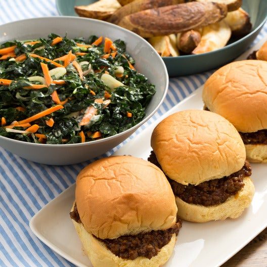 Sloppy Joes & Roasted Steak Fries with Creamy Kale & Carrot Salad