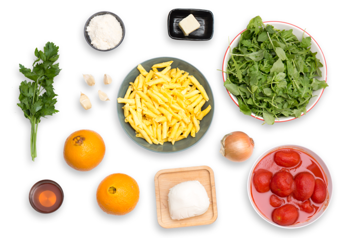 Garganelli Pasta & Tomato Sauce with Fresh Mozzarella & Arugula-Orange Salad ingredients