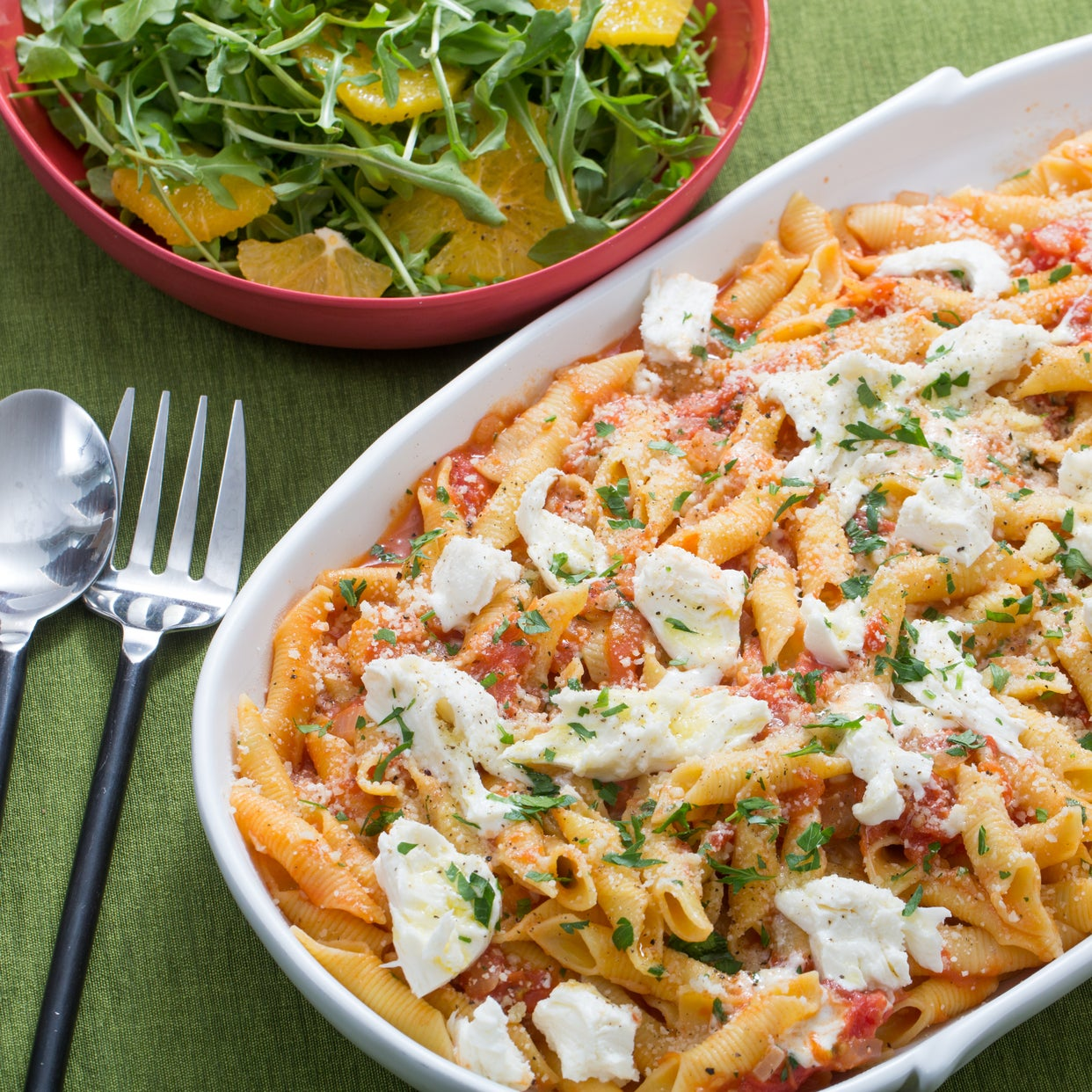 Garganelli Pasta & Tomato Sauce with Fresh Mozzarella & Arugula-Orange Salad
