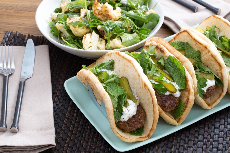 : Lamb Gyros with Roasted Cauliflower Salad & Cucumber-Yogurt Sauce ...