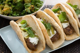 Lamb & Beef Gyros with Roasted Broccoli Salad & Cucumber-Yogurt Sauce