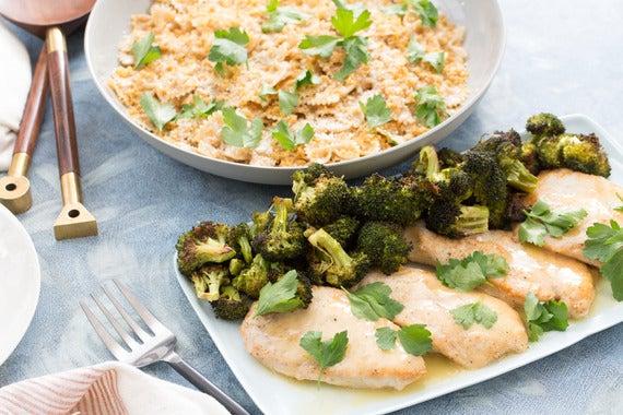 ... Scallopini with Roasted Broccoli & Whole Wheat Farfalle - Blue Apron