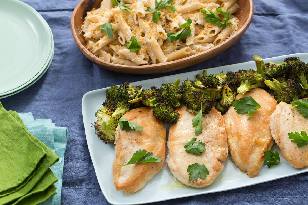 Chicken Scallopini with Whole Wheat Penne Rigate & Roasted Broccoli
