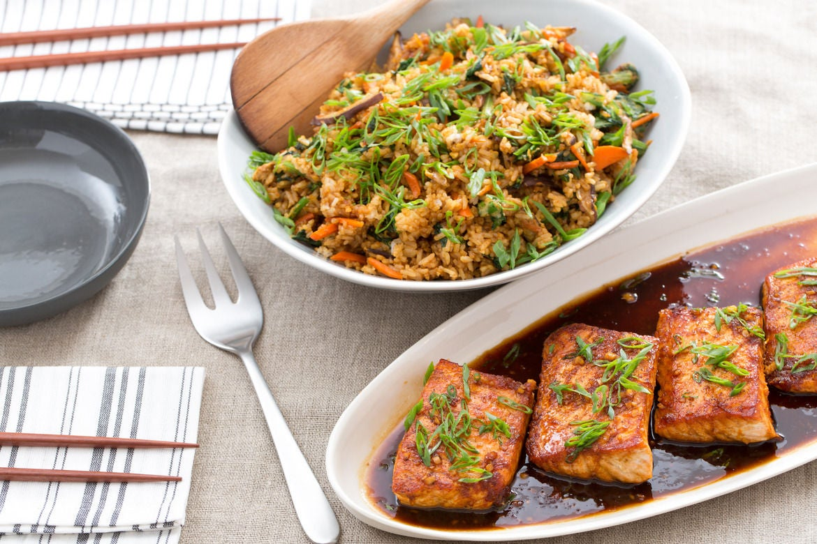 Orange-Ginger Salmon with Shiitake Mushroom & Yu Choy Fried Rice