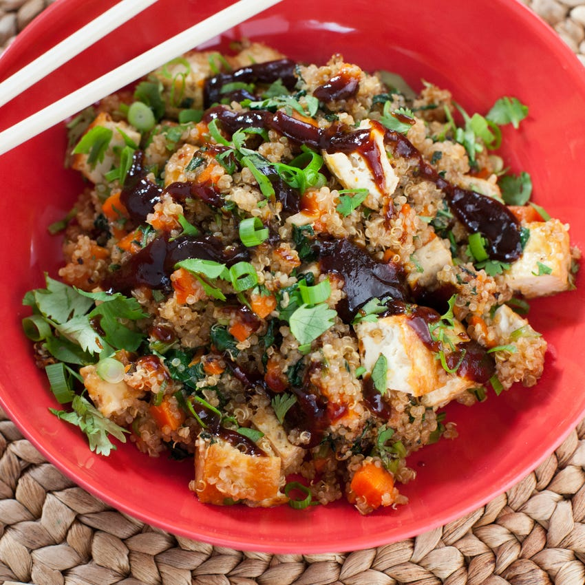 "Quinoa ""Fried Rice"" with Baked Tofu & Choy Sum"