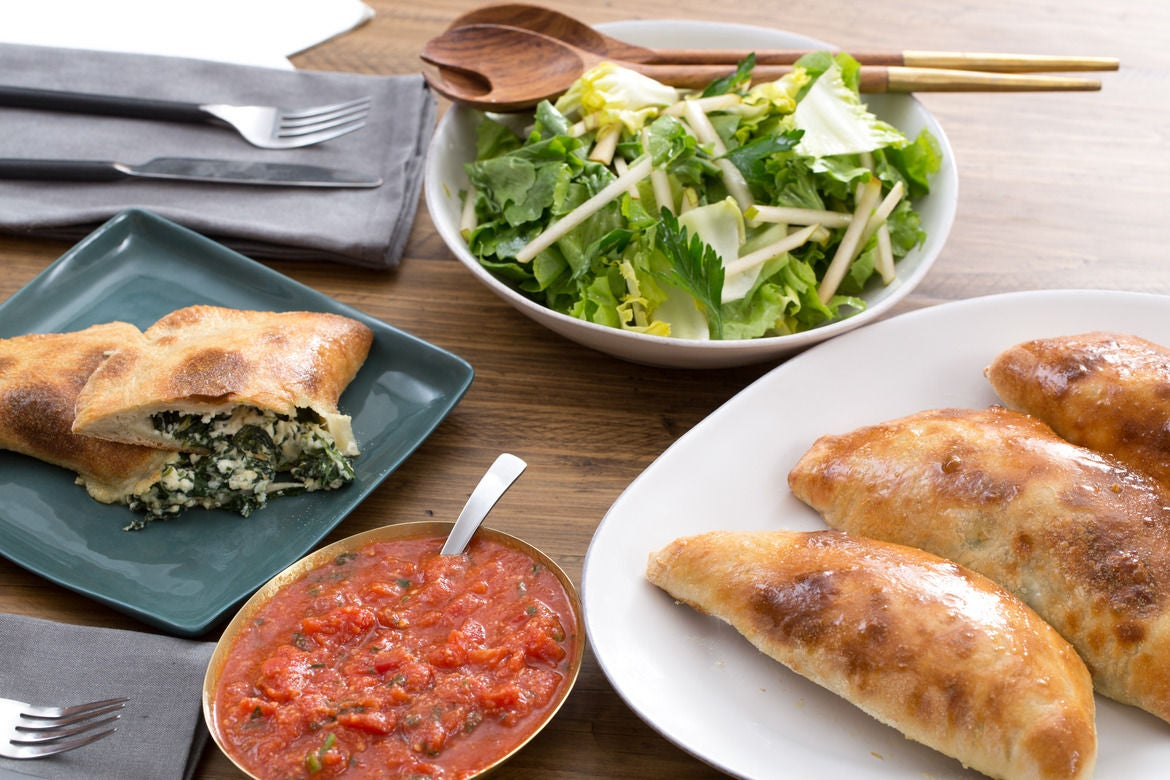 Spinach & Ricotta Calzones with Escarole-Pear Salad & Honey Dressing