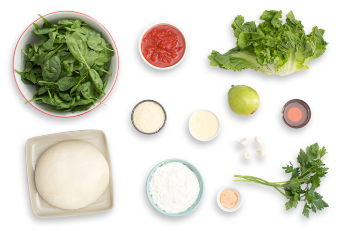 Spinach & Ricotta Calzones with Escarole-Pear Salad & Honey Dressing ingredients