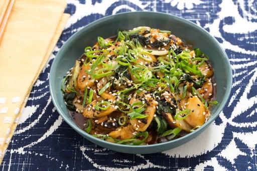 Korean Rice Cakes with Shiitake Mushrooms, Napa Cabbage & Tatsoi