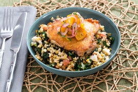 Crispy Chicken Thighs with Kumquat Relish & Freekeh Salad