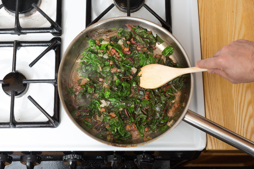 Cook the rainbow chard: