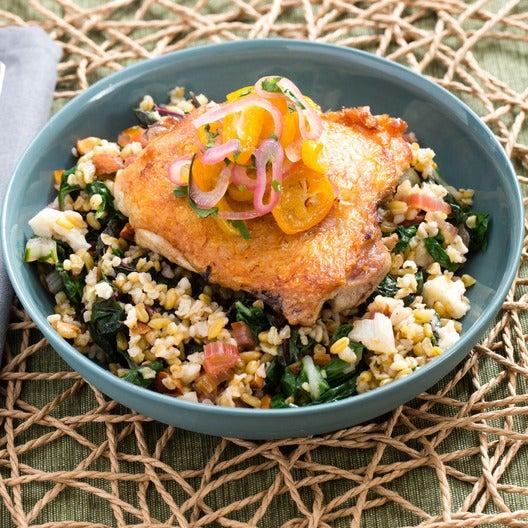 Crispy Chicken Thighs with Kumquat Relish & Freekeh Salad