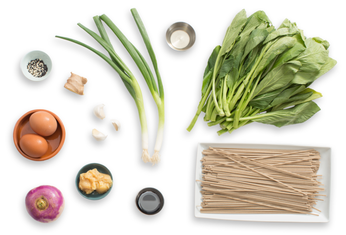 Shiro Miso Soba Noodles with Poached Eggs, Yu Choy & Turnips ingredients