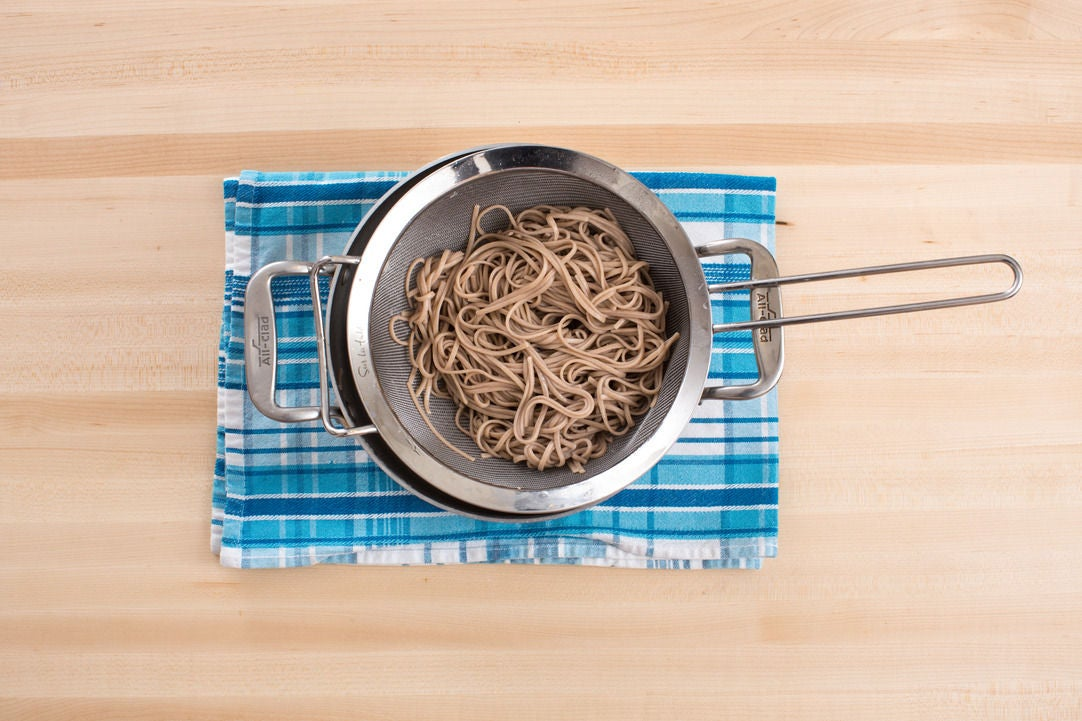 Cook & dress the soba noodles: