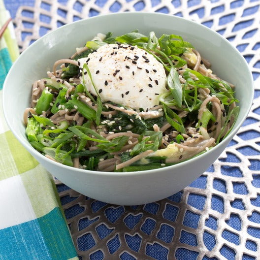 Shiro Miso Soba Noodles with Poached Eggs, Yu Choy & Turnips